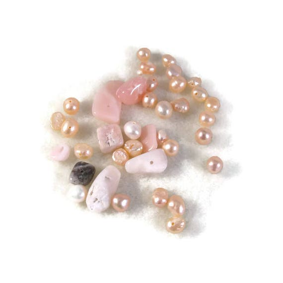 Gemstone Bead Mix,Pink, White, Cream Gemstone Grab Bag, 37 Beads for Making Jewelry, Assorted Shapes and Sizes (L-Mix7c)