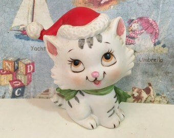 VERY RARE Vintage Cat in a Santa Hat Holiday Lefton collectible figurine Lynx Point Siamese Tabby Cat