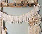 Garland, Eyelet and Lace Banner, Shabby Chic Garland, Fabric Garland, Rustic Wedding, Woodland Nursery, Romantic Banner, Farmhouse Decor