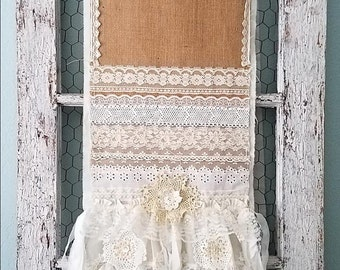 Table Cloth Runner, Burlap & Lace Table Runner, Lace Table Cloth, Rustic Wedding, Cake Table, Woodland Style, Shabby Chic, Farmhouse Decor