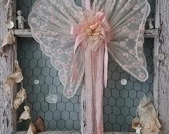 Pink Angel Wings, Vintage Wire Wings, Shabby Chic Wedding, Brides Chair, Ring Pillow Alternative, Flower Girl, Shower, Nursery & Home Decor