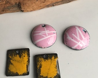 Enamel on Copper Charms, Pink and White, Mustard Yellow, Destashed Beads, Destashed Charms, Kiln Fired, Handmade Enamel Charms