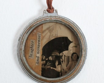 Mixed Media Necklace - Vintage Photo and Watch Case Collage on Copper Colored Silk Cord