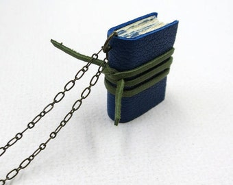 Blue mini diary on a chain, book pendant, necklace, tiny journal, mini leather notebook, hand-made, paper-goods