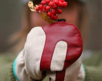 Wool and Leather Mitten | Trail Mitt | Creamy Herringbone Wool and Red Deerskin leather mitten