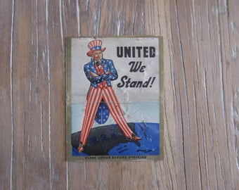 United We Stand WW2 Uncle Sam Double Wide Matchbook Cover