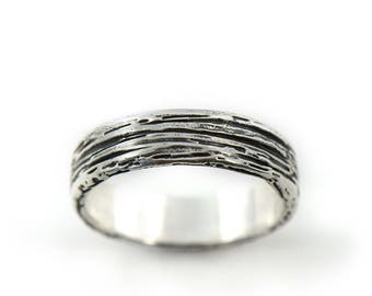 Handmade Rustic Timber Sterling Silver Wedding Ring