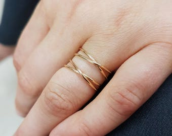 Double infinity ring gold or silver, double gold crisscross ring, X ring, best friend rings