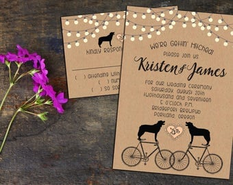 Dogs on Bikes Fun Rustic Whimsical Wedding Invitations, Elopement Party, RSVP Cards or Post Cards, Thank You Notes, Envelopes Included