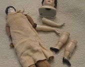 Vintage Doll Parts - Porcelain Head Hands Feet - Jointed Soft Doll