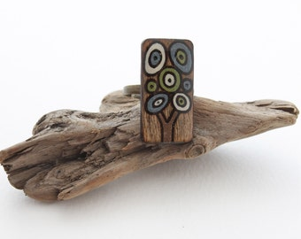 Wood Tree Statement Ring, Adjustable Tree Ring, Rectangle Ring, Geometric Modern Ring, Gifts Under 20, Wood Burned Jewelry, Costume Jewelry