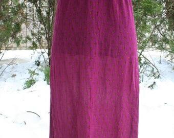 Fuschia tube top maxi dress cotton gauze sun dress small