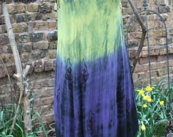 Purple and green sleeveless tie dye dress festival hippie maxi India embroidered XL