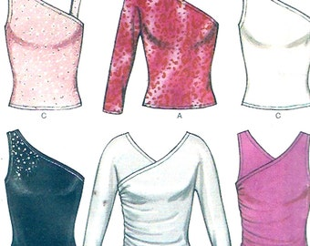 Evening wear tops dance yoga wear Stretch knit wear New Look 6087 sewing pattern Bust 30 1/2 to 38