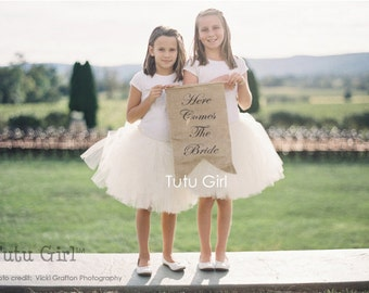 Ivory Tutu, Flower Girl Tutu, Cream Wedding Tulle Skirt, Newborn Photography Prop, Baby, Toddler