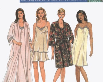 Vintage 90s Nightgown, Pajamas, Robe, Dressing gown, Slip Sewing Pattern Simplicity 8486 Full Figure Solutions by Mary Duffy UNCUT S18W-24W