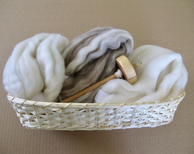 Learn to Spin Gift Basket - Natural / Handspinning Gift Basket with Natural Wool Spinning Fiber