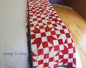 Vintage Four X Star Red and White Quilt Antique Vintage Rescue Quilt Twin or Full Size Hand Sewn Five Patch Star Handmade Vintage Quilt Red