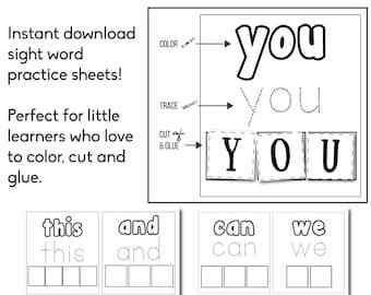 Kindergarten Sight Words - Educational Worksheet - Kindergarten Worksheet - Sight Words - Preschool - Educational Download - Homeschool