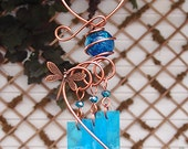 Dragonfly Windchime Glass Wind Chimes Copper Garden Lawn Yard Art Sculpture Stained Glass Ornament Metal Aqua