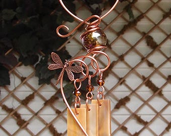 Wind Chimes Dragonfly Stained Glass Copper Garden Lawn Yard Art Sculpture Ornament Metal Brown
