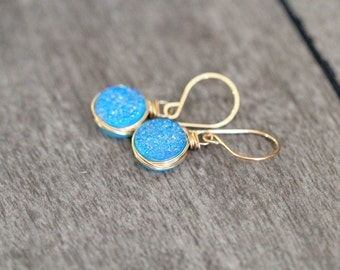 Druzy Dangle Earrings , Aqua Blue Quartz Bezel Wrapped Drops in 14k Gold Filled , Rose Gold , Sterling Silver