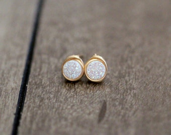 Druzy Studs , Tiny White Post Earrings , Gold , Sterling Silver , Rose Gold , Minimalist Everyday Fashion - Micros (Confetti Cream)