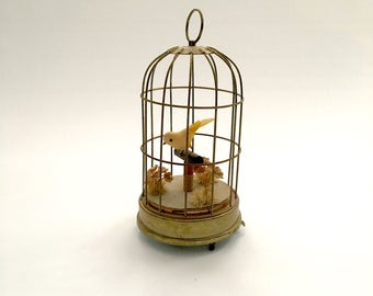 Vintage Schmid Bros. Caged Bird Music Box, Plays Oh! What A Beautiful Morning, made in Japan