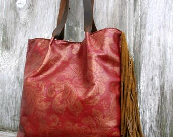 RESERVED for Gayle - Antique Gold Damask Leather Tote Bag in Dark Red with Long Distressed Brown Fringe by Stacy Leigh