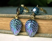 Peacock Leaf Earrings Brass Dangle, Drop Earrings, Vintage Glass Iridescent Leaf Earrings, Lightweight Brass Earrings Peacock Color Earrings