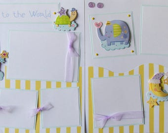 12x12 Premade Scrapbook Pages - baby boy or girl scrapbook layout -- WELCOME To THE WORLD -- newborn baby, baby's birth, first year album