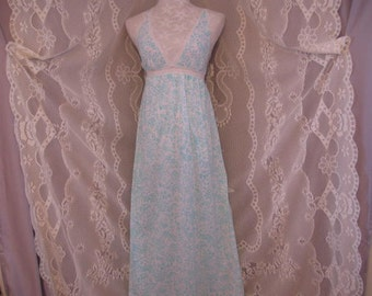 Vintage  Teal Blue and White Printed Cotton Knit Lingerie - Nightgown size small