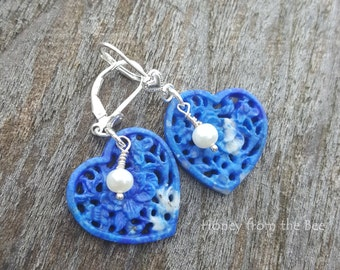 Carved Lapis Heart Earrings - blue and white earrings