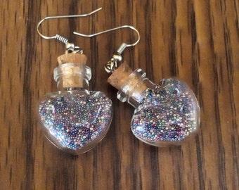 Mystic Fairy Blown Glass HEART Vial Surgical steel Micro bead Earrings Ln452, Dream, Star, wish, hope, Woman & Girls jewelry  by Lynn