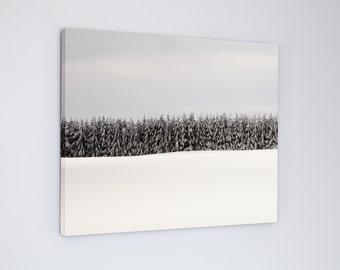 Canvas Art Landscape Photography, Modern Winter Trees, Nordic Picture, Extra Large Wall Art, Scandinavian Style Decor, Black White Blue