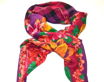 Adrienne Vittadini  silk scarf  Plaid floral square scarf Made in Italy