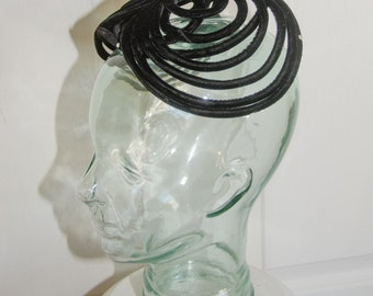 Vintage 1950's Black Velvet Piping Hat with Rhinestones