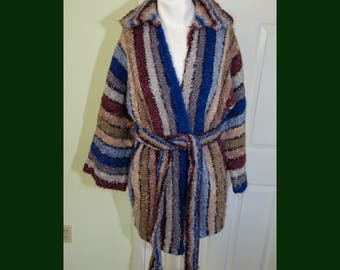 Vintage 70s Striped Boucle Knit Wrap Sweater Slouch Cardigan