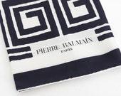 Pierre Balmain 1960's Vintage Mod Swirl Black & White Silk Hand Rolled Edge Scarf