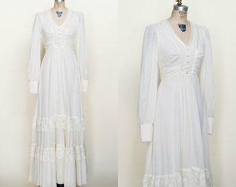 1970s Maxi Dress --- Vintage Bohemian Wedding Dress