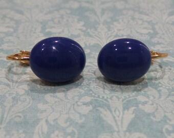 Reserved for Jan - Dark Blue Clip On Earrings, Blue Clip Ons, Non Pierced Earrings, Fused Glass Jewelry - Felice -6