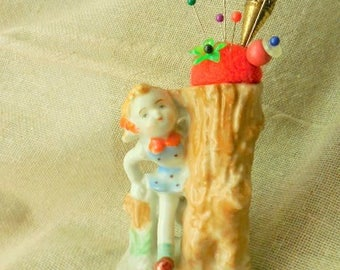 Vintage little Girl Playing next to Tree Stump remade into Pin Cushion