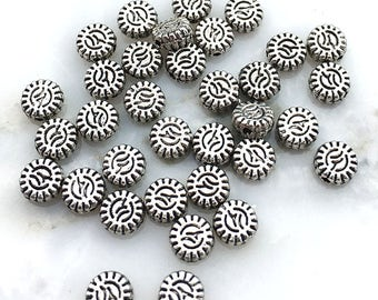 27 Flat Flower Beads Disk Coin 5mm Silver Plated Bali Style Abstract Sunflower TS536B