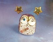 Purple Fairy Owl Ceramic Figurine with Gold and Red Flowers