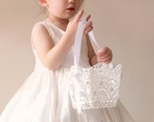 "Lace flower girl basket, White lace basket, Simple flower girl bag, Stiffened crochet lace, Classic white lace basket 4"" or 6"""