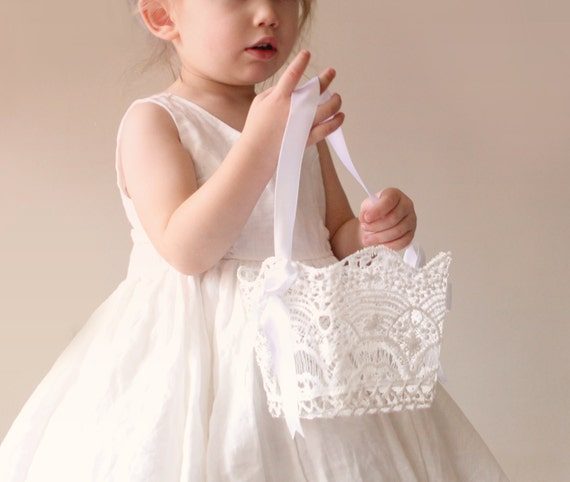 "Lace flower girl basket, White lace basket, Simple flower girl bag, Stiffened crochet lace, Classic white lace basket 4"", 5"" or 6"""