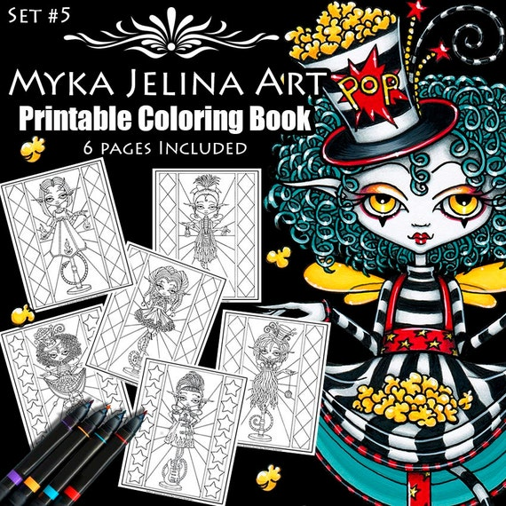 6 pages set 5 pixie stick coloring book printable for Myka jelina coloring pages