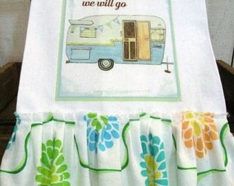 Glamping Camping towel CUSTOM choices Shabby cotton Kitchen dish towel Tattered ruffles ECS RDT FVGteam