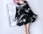 MSD Doll Minifee BJD clothes Black hole Galaxy skater dress MonstroDesigns