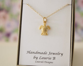 Sea Turtle Charm Necklace, Friendship Gift, Gold, Bestie Gift, Gold Turtle, Thank you card, Ocean Life Charm, Yellow Turtle